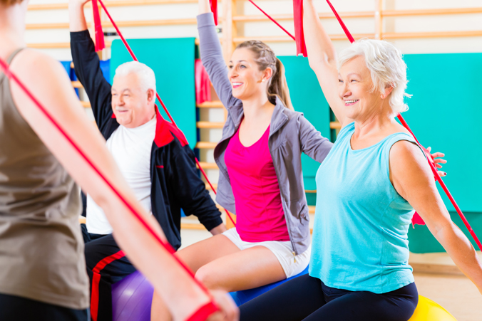 Group of older adults exercising